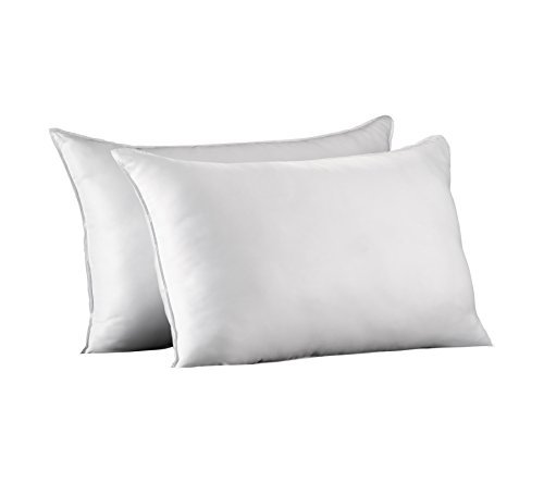 Ella Jayne Home Queen Size Bed Pillows- 2 Pack White Hotel Pillows- Gel Fiber Filled FIRM Gel Pillows with Hypoallergenic Classic Cover- Best Pillow For Side Sleepers & Back Sleepers