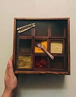 DECORVAIZ Wooden Spice Box, Spice Container, Spice Holder
