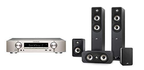 Marantz NR1510 5.2-Kanal AV-Receiver, HiFi Verstärker, HEOS Multiroom, Musikstreaming, AirPlay 2, Bluetooth, Wi-Fi + Polk Audio Signature E Series Lautsprecher Set 2 für Heimkino und Musik, schwarz