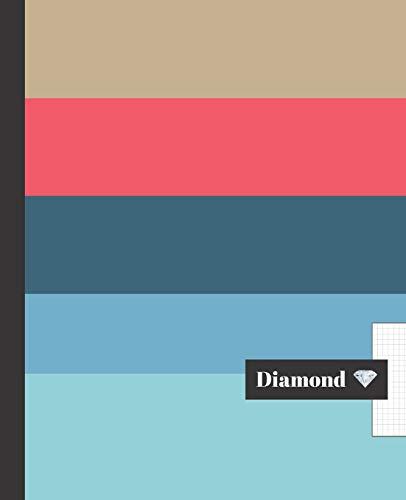 Cuaderno Escolar Diamond: DISEÑO MODERNO - Cuaderno de hoja cuadriculada - Tamaño especial para la mochila o cartera del colegio - 120 páginas de ... - PATRÓN FRANJAS COLORES, SIMPLE Y ELEGANTE.