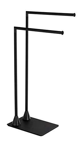 WENKO Toallero y perchero Hella - Perchero de pie, Acero, 43.5 x 78.5 x 20 cm, Negro