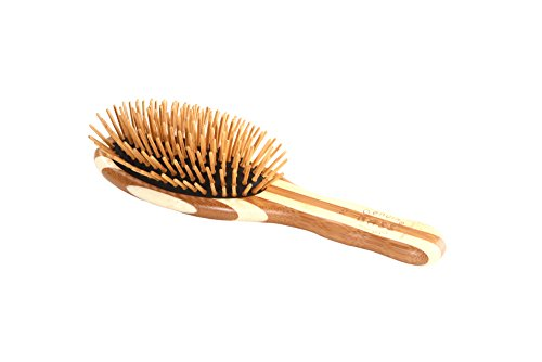 Bass Brushes | The Green Brush | Bamboo Pin + Bamboo Handle Hair Brush | Small Oval