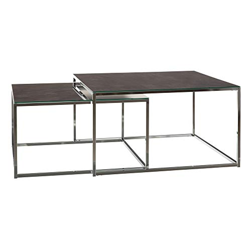 Set de 2 mesas de Centro Nido de Cristal Templado y Acero Inoxidable Negra y Plateada - LOLAhome