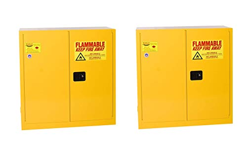 """Eagle 1932 Safety Cabinet for Flammable Liquids, 2 Door Manual Close, 30 Gallon, 44""""Height, 43""""Width, 18""""Depth, Steel, Yellow (Pack of 2)"""