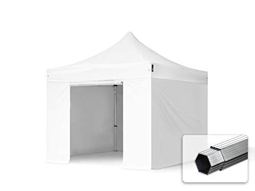 TOOLPORT Faltzelt Faltpavillon Professional 3x3 m mit 4 Seitenteilen (ohne Fenster) - ALU Pavillon Partyzelt weiß