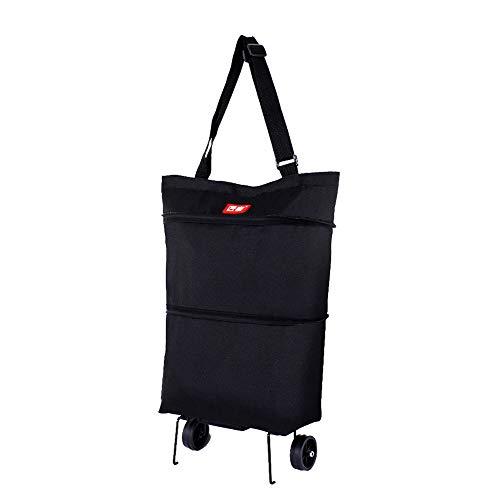 2 in1 Einkaufstrolley Einkaufskörbe Klappbare, Einkaufstasche mit Rollen, Wiederverwendbar, Strapazierfähig, Zusammenklappbar für Einfache Lagerung (Schwarz,Einkaufstrolley)