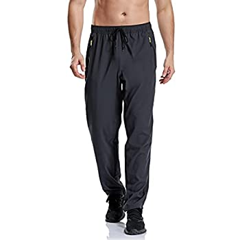 CUNYI Men's Hiking Pants Lightweight Sweatpants for Men Quick Dry Running Trousers Breathable Outdoor Workout Jogger Sport Dark Grey 36