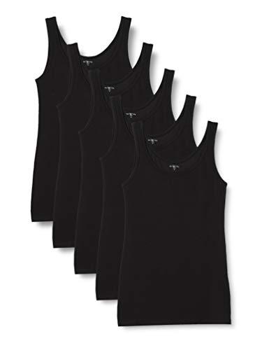 Iris & Lilly Damen Unterhemd aus Baumwolle, 5er-Pack, Schwarz (Black), L, Label: L
