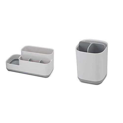 Joseph Joseph Easy-Store - Badezimmer-Caddy - weiß/grau & Bad Easy-Store - Zahnbürstenhalter - weiß/grau