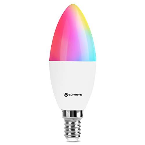 Slitinto Smart LED Glühbirne E14, 5W Kerzenform WLAN Lampen Kompatibel mit Alexa und Google Home, RGBCW 16 Millionen Farben Dimmbar, Fernbedienung, Sprachsteuerung, Kein Hub Erforderlich, 1 Pcs