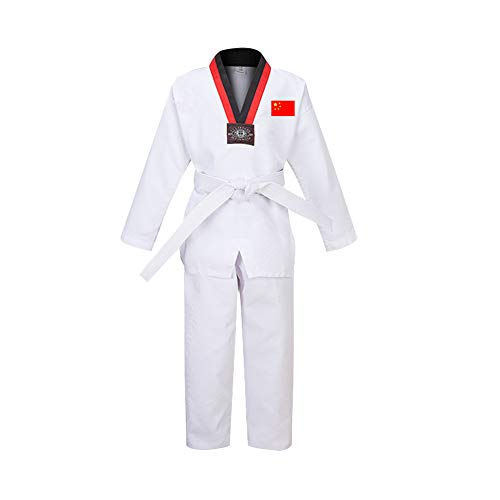 Daytwork Taekwondo Kimono Adult Niño - Cuello En V Hombre Dobok Trajes De Artes Marciales Sudadera Karate Aikido Judo Uniforme Kung Fu Entrenamiento Traje Manga Larga/Corta Algodón/Poliéster