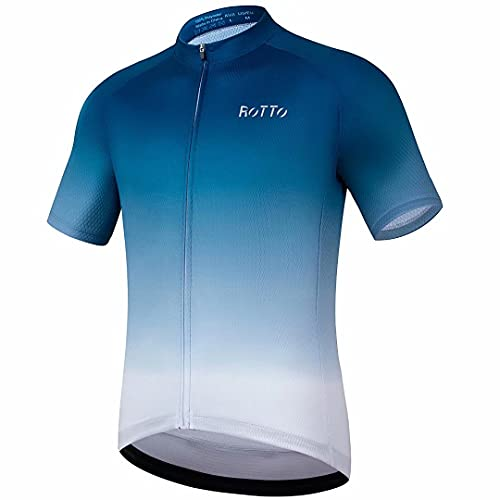 ROTTO Cycling Jersey Mens Bike Shirt Short Sleeve Gradient Colour Series