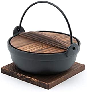 Fuji Merchandise Japanese Style Cast Iron Sukiyaki Tetsu Nabe Pot with Wooden Lid and Tray Quality Enamel Coating (28 fl. oz) 6.75