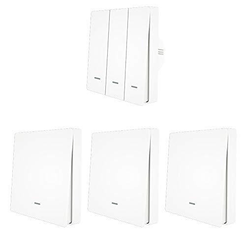 ILS – 3 Gang WiFi Smart Push Button Switch + 3 piezas 1 Gang RF433 Transmisor de panel de pared Smart Life App control remoto funciona con Alexa Google Home