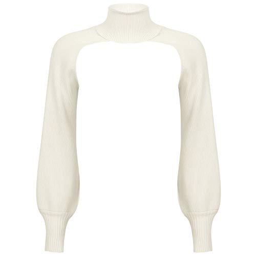 TiaoBug Damen Crop Top Kurze bauchfreie Oberteile Rollkragen Bluse Langarm Shirts...