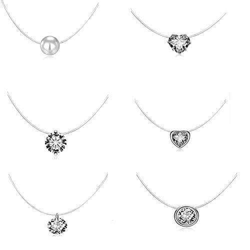 6 stycken nylonkedja transparent snäv kedja, transparent halskedja av nylon, transparent fiskelina halsband, för presenttillfällen, bröllop, gåvor till anställda (silver)
