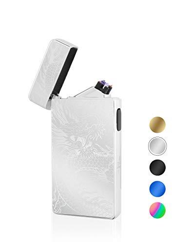 TESLA Lighter TESLA Lighter T13 Lichtbogen Feuerzeug, Plasma Double-Arc, elektronisch wiederaufladbar, aufladbar mit Strom per USB, ohne Gas und Benzin, mit Ladekabel, in edler Geschenkverpackung, Drache Silber Silber