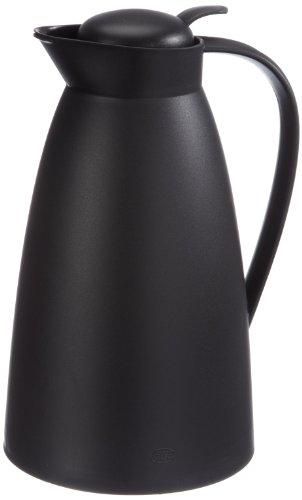 alfi Thermoskanne Eco, Kunststoff schwarz 1l, mit alfiDur Glaseinsatz, 0825.020.100, Isolierkanne hält 12 Stunden heiß, ideal als Kaffeekanne oder Teekanne, Kanne für 8 Tassen