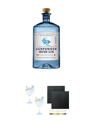 Drumshanbo Gunpowder Gin Irland 0,5 Liter + Gin Sul Copo Ballon Glas 2 Stück + Schiefer Glasuntersetzer eckig ca. 9,5 cm Ø 2 Stück