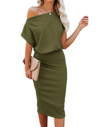 Ezbelle Women's Sexy Off Shoulder Short Sleeve Wrap Bodycon Pencil Casual Party Dress Army Green Large