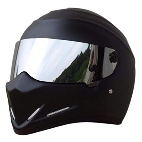 LEAGUE&CO Motorrad Helmets Helm Motorradhelm Helmets Alien Integralhelm Visier Offroad Racing Motocross für Honda Yamaha Suzuki Kawasaki Bandit Helm (XXL, Schwarz (Silber))