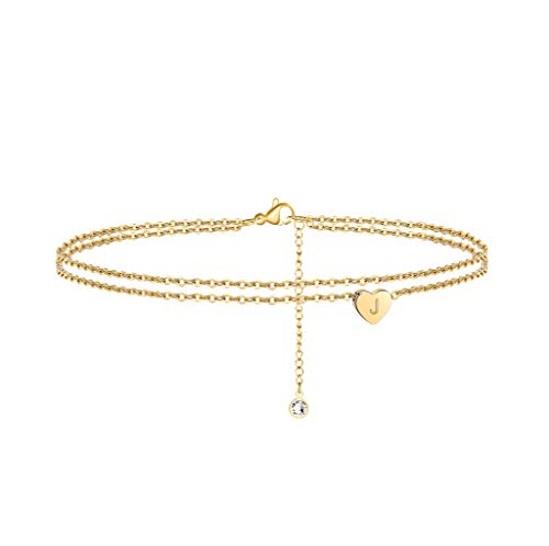 Turandoss Layered Initial Ankle Bracelets for Women, 14K Gold Filled Layered Initial Ankle Bracelets for Women Anklet with Initials J