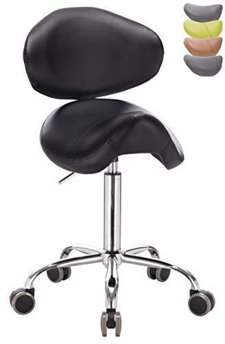 1stuff® Sattelhocker Rollhocker Pony mit Lehne Bigback (abnehmbar) - aufrechte Sitzposition - Sitzhöhe bis ca. 74cm - Arzthocker Arbeitshocker Praxishocker Bürohocker Drehhocker (schwarz)