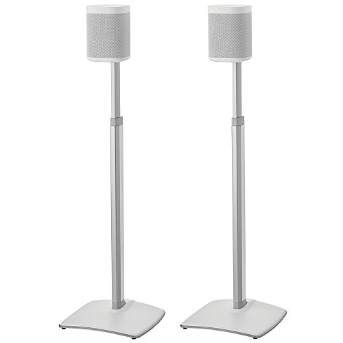 SANUS Adjustable Height Wireless Speaker Stands Designed for SONOS ONE, ONE SL, Play:1, and Play:3 - Tool-Free Height Adjust Up to 16' with Built in Cable Management - White Pair - WSSA2-W1