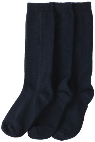 Jefferies Socks Mädchen Girls'School Uniform Knee High Socks, Schuluniform, Kniestrümpfe, navy, Small (3er Pack)