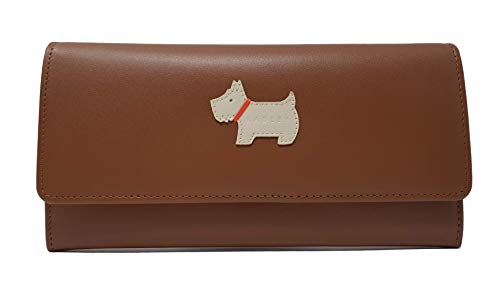 Radley 'Heritage Dog' Large Flapover matinee in tan Leather