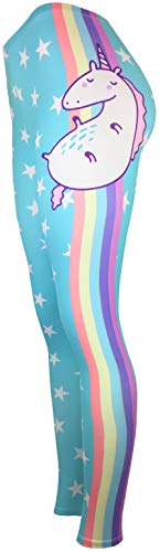 Abgefahrene Motiv-Leggings mit All Over Print Fitness Sport Yoga Running Tights Stretch One Size Einhorn Bunt