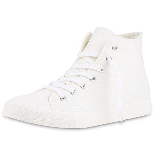 SCARPE VITA Herren High Top Sneaker Sportschuhe Kult Schuhe Canvas Stoff Schnürer Sportliche Turnschuhe 142532 Weiss Creme High 37