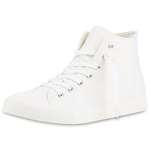 SCARPE VITA Herren High Top Sneaker Sportschuhe Kult Schuhe Canvas Stoff Schnürer Sportliche Turnschuhe 142532 Weiss Creme High 46