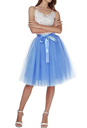 Aysimple Falda de tutú de Las Mujeres Midi Tulle Faldas 6 Capas de Falda de Falda de Underskirt con el cinturón elástico para el Banquete de Boda