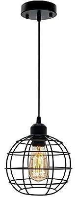 Industrial Pendant Light Fixture, Metal Cage Black Pendant Light, E26 Socket Vintage Hanging Ceiling Lamp, Max 660W, Farmhouse Pendant Lighting for Kitchen Island Dining Room (Globe Pendant Light)