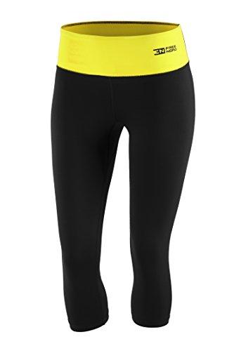 Fittech Performance Legging thermoactif pour femme, short moulant, pantalon 3/4 pour fitness, yoga, sports d'extérieur, cyclisme, course à pied S noir/jaune