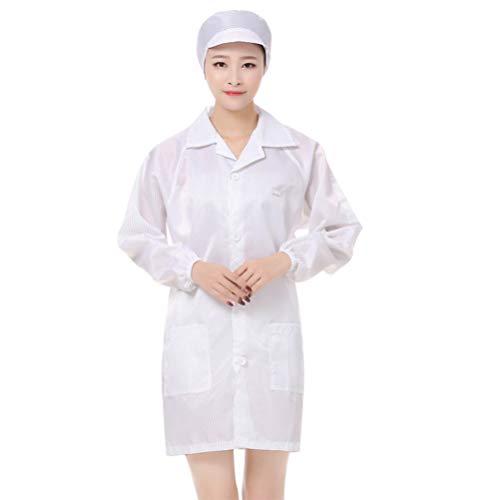 PRETYZOOM Schutzanzug mit Kappe Pflege Uniform Schlupfkasack Schutzkleidung OP Kleidung Medizinische Uniform Krankenschwester Krankenhaus Berufskleidung Weiß Größe M