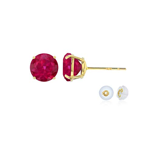 Genuine 14K Solid Yellow Gold 6mm Round Created Ruby July Birthstone Stud Earrings