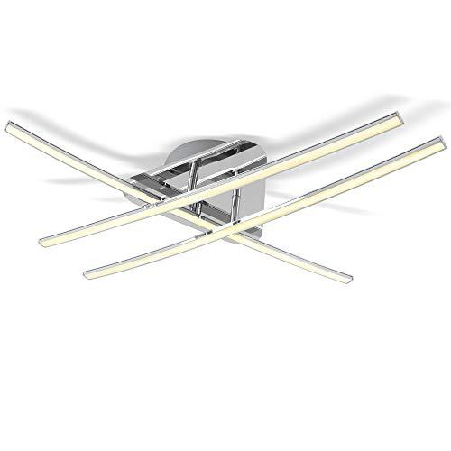 B.K.Licht Lámpara de techo LED 3x8W, Color níquel mate, 3 placas de luz, Lampara de salón moderna en metal y plástico, 230 V, IP20
