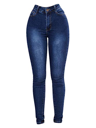 Generic, Andongnywell Women's Skinny Jeans High Waisted Stretch Slim Denim Butt Lift Pencil Pants Stretchy Trousers (Navy Blue,Large)