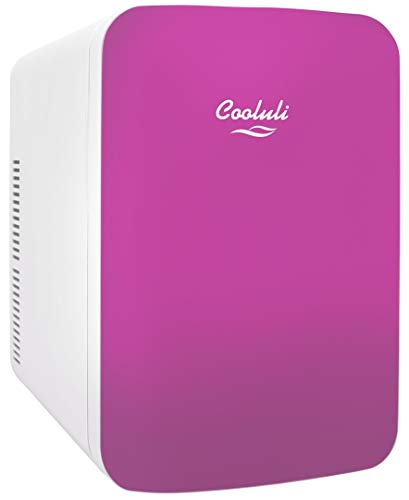 Cooluli 15L Mini Fridge for Bedroom - Car, Office Desk & College Dorm Room - 12v Portable Cooler & Warmer for Food, Drinks, Skincare, Beauty & Makeup - AC/DC Small Refrigerator with Glass Front, Pink
