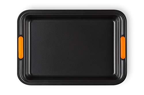 Le Creuset Moule à Manqué Rectangulaire Anti-Adhérent 33 x 23 cm, sans PFOA, Résistant au Levain, En Acier Siliconé, Anthracite/Orange