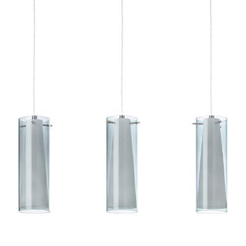 Preisvergleich Produktbild EGLO Pendellampe Pinto Nero,  3 flammige Pendelleuchte,  Material: Stahl,  Farbe: Nickel matt,  Glas: Rauchglas,  opal matt,  weiß,  Fassung: E27