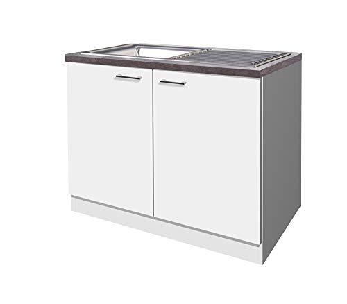 Flex-Well Spülenunterschrank LUCCA | Spülenschrank mit Spüle und Arbeitplatte | Breite 100 cm | Weiß