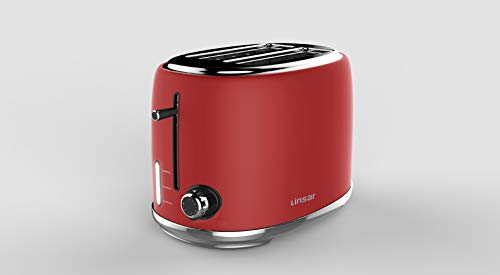 Linsar KY865-2 Slice Toaster with Defrost, Reheat, Cancel Functions and 6 Toast Shade Setting ? RED