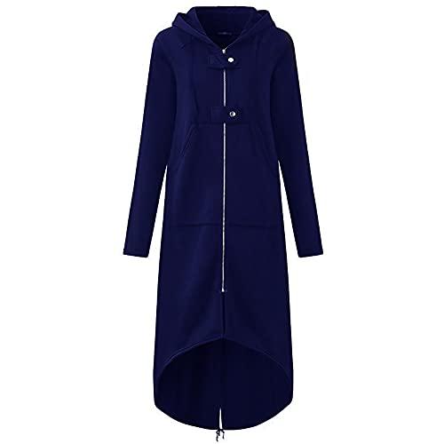Sudadera con Capucha para Mujer Manga Larga Casual Color Liso Suéter Abrigo Jersey con Cremallera Bolsillo Houdie Abrigos Otoño Invierno Outwear Talla Grande