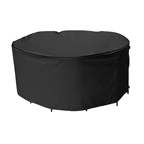 SIRUITON Schutzhülle für Rund Abdeckung Sonneninsel Rund Gartentisch Abdeckung für Möbelsets Reißfest Wasserdicht 420D Oxford