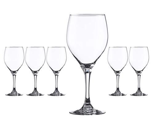 Hostelvia - Calici da vino vintage 420 ml - Confezione da 6 - Vetro temperato resistente - Lavabile in lavastoviglie