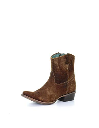 Corral Boot Women's 8-Inch Abstract Distressed Leather Round Toe Chocolate/Tan Western Boot