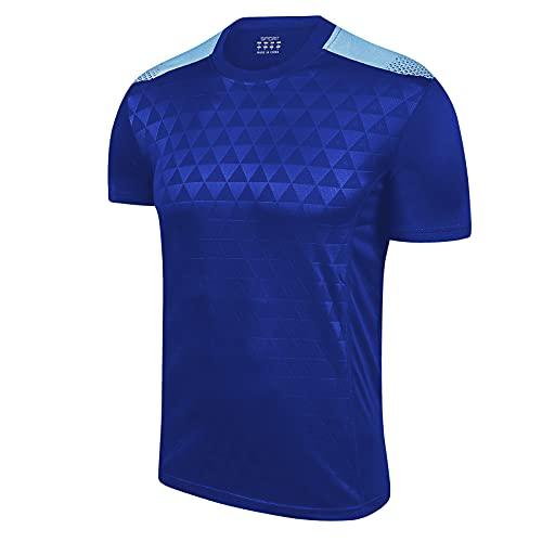 Schnell trocknendes Sport-T-Shirt für Herren, T-Shirt mit kurzen Ärmeln und Rundhalsausschnitt Gym Tops,Blau,M